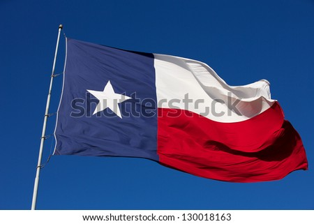 State Flag of Texas waving in the wind - stock photo