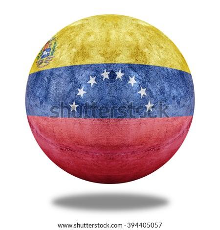 State flag of Venezuela flag pattern on stone circle shape texture - stock photo