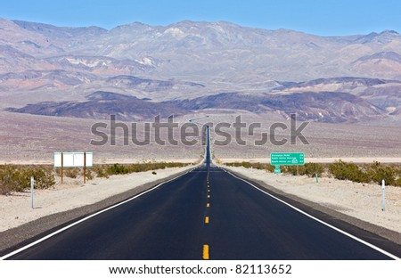 State Highway 190 going over Panamint  Range to Death Valley. - stock photo