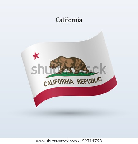 State of California flag waving form on gray background. See also vector version. - stock photo