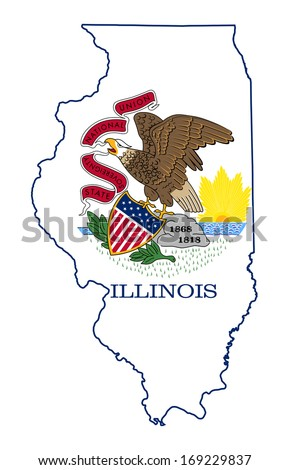 State of Illinois flag map isolated on a white background, U.S.A.  - stock photo