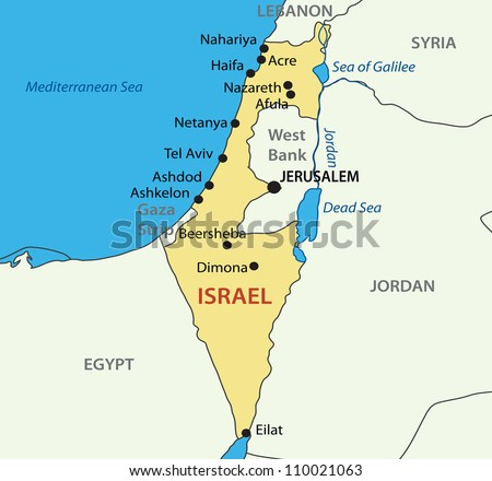 State of Israel - map - stock photo