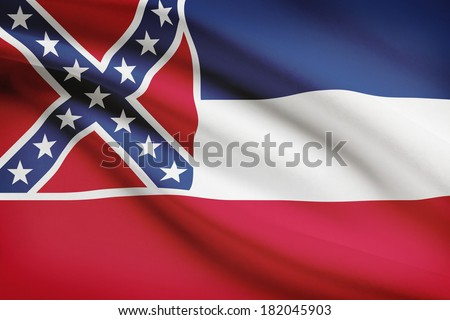 State of Mississippi flag blowing in the wind. Part of a series. - stock photo