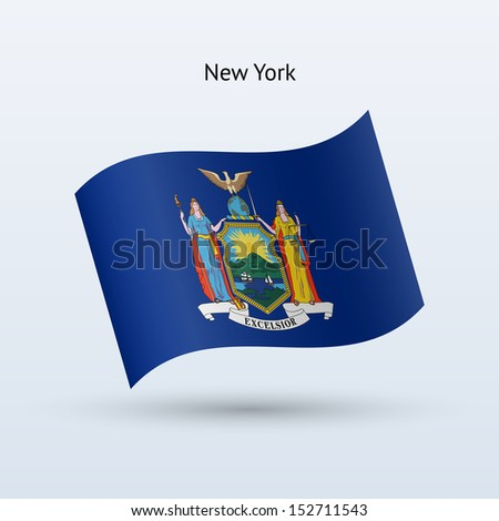 State of New York flag waving form on gray background. See also vector version. - stock photo