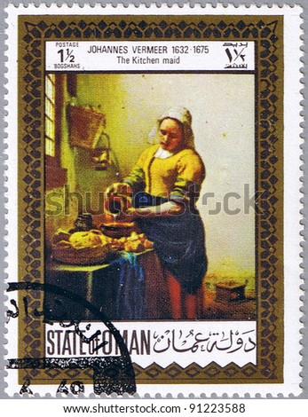 STATE OF OMAN - CIRCA 1969: A stamp printed in State of Oman shows painting by Johannes Vermeer - The Kitchen maid, series, circa 1969 - stock photo