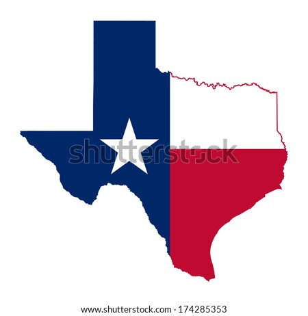 State of Texas flag map isolated on a white background, U.S.A.  - stock photo