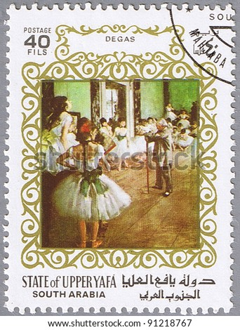 STATE OF UPPER YAFA - CIRCA 1967: A stamp printed in State of Upper Yafa shows painting by Edgar Degas - The Dance Class, series, circa 1967 - stock photo
