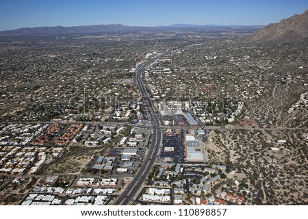 State Route 77, Oracle Road in Tucson from above - stock photo
