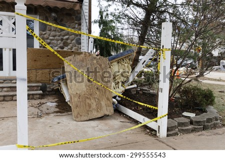 STATEN ISLAND, USA - NOVEMBER 4: The images of devastation caused by the Hurricane Sandy  and rescue services response November 4, 2012 on the streets of Staten Island, USA. - stock photo