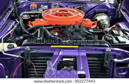 STATHAM, GEORGIA, USA - JULY 18, 2015: Car engine displayed at the annual Drive In Car Show. This event was held at Statham, Georgia. - stock photo