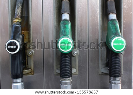 station gasoline pump gasoline and diesel - stock photo