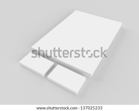 Stationary blank mockup, letterhead and business cards - stock photo