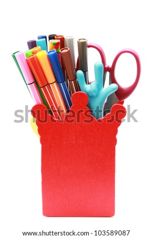 Stationary in red box isolated on white background - stock photo