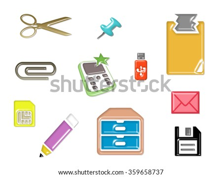Stationary set icon design for business workplace - stock photo