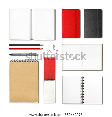 stationery books and notebooks mockup template isolated on white background - stock photo