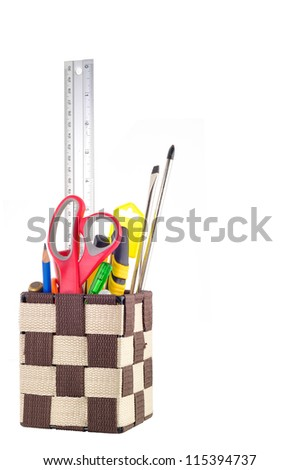 Stationery box And Tools Isolated - stock photo