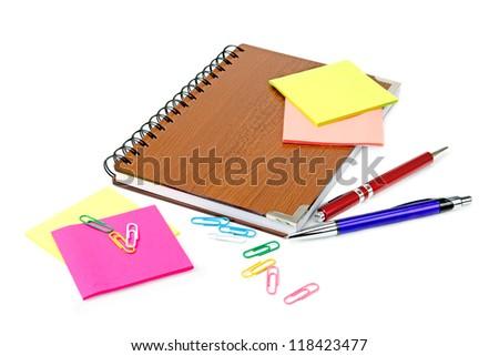 stationery isolated on a white background - stock photo