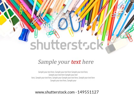 Stationery, office and student accessories & text isolated on white background. - stock photo