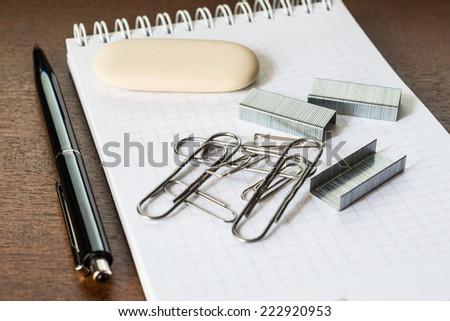 Stationery on the desk - stock photo