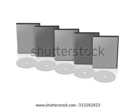 Stationery set blank 3D objects template isolated on white. - stock photo