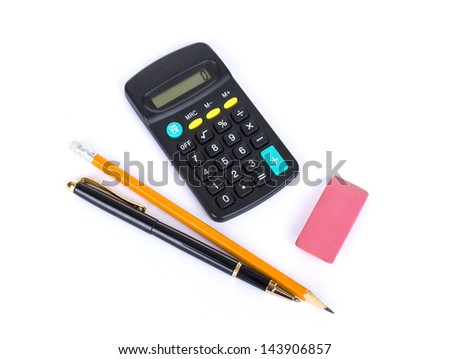 Stationery supplies consisting of calculator pens pencils and eraser isolated on white background - stock photo