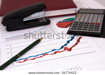 Statistic diagrams with calculations - stock photo