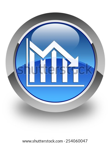 Statistics down icon glossy blue round button - stock photo
