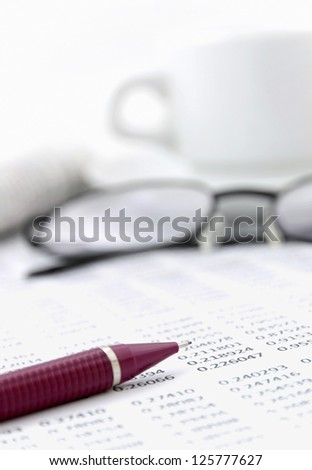 Statistics in the morning - stock photo