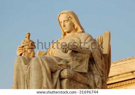 "Statue called ""Contemplation of Justice"" at United States Supreme Court in Washington, DC. - stock photo"