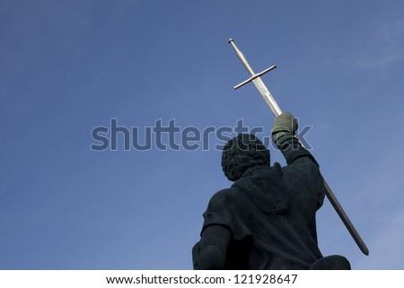 Statue D. Nuno Alvares Pereira, Portel, Alentejo, Portugal - stock photo