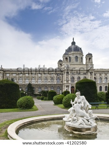 Statue in a beautiful garden at the Museum District of Vienna (Austria) - stock photo
