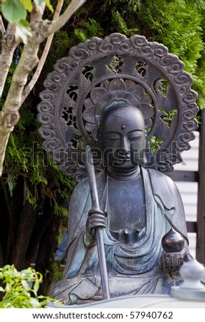 Statue  in a japanese shrine in Tokyo japan - stock photo