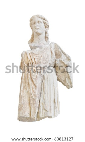 Statue in Delphi museum, Greece isolated on white background - stock photo