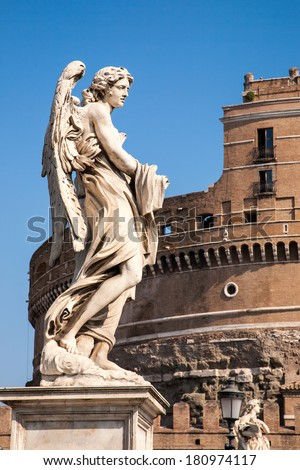 Statue in front of Castle Sant'Angelo in Rome, Italy/Statue in front of Castle Sant'Angelo/Rome, Italy - September 2 2009 : Statue in front of Castle  Sant'Angelo in Rome, Italy - stock photo