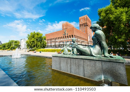 Statue in front of the Oslo city hall. Norway - stock photo