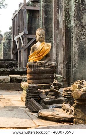 statue in the Bayon Temple, Cambodia - stock photo