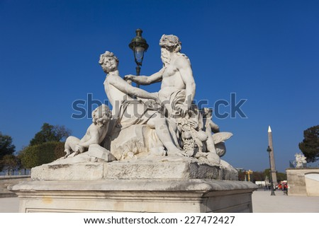 Statue in the Tuilleries, Paris, Ile-de-france, France - stock photo