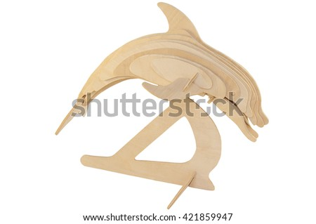 statue of a dolphin from a tree on a white background - stock photo