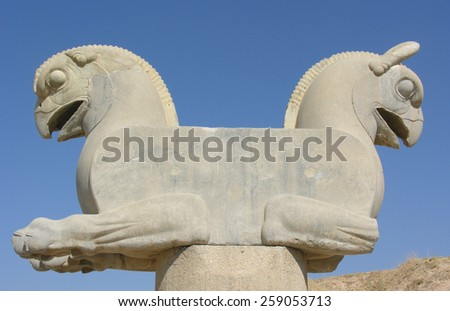 Statue of a double-headed griffin at the ruins of Persepolis, the capital of the ancient Persian empire, near Shiraz, in Iran. Persepolis was declared a UNESCO World Heritage Site in 1979. - stock photo
