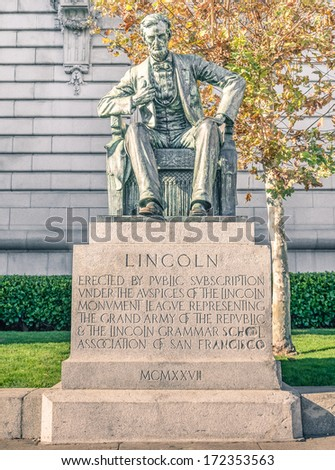 Statue of Abraham Lincoln at Civic Center Plaza and City Hall of San Francisco - stock photo