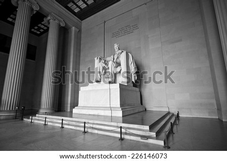 Statue of Abraham Lincoln at Lincoln Memorial in black and white, Washington DC, District of Columbia, USA, HDR - stock photo
