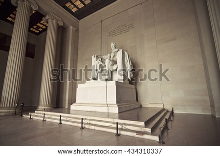 Statue of Abraham Lincoln at Lincoln Memorial, Washington DC, District of Columbia, USA, HDR, Vintage filtered style  - stock photo