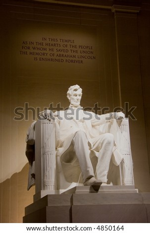 Statue of Abraham Lincoln at the Lincoln Memorial at night, in Washington DC, USA - stock photo