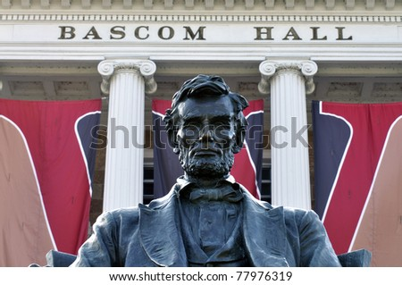 Statue of Abraham Lincoln in front of Bascom Hall at Wisconsin University - stock photo