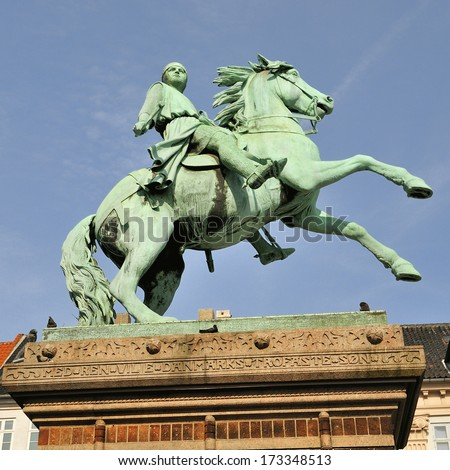 Statue of Absalon on Hojbro square in Copenhagen, Denmark  - stock photo