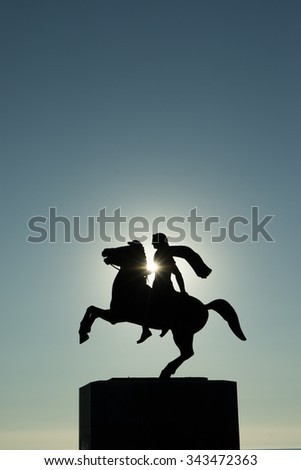 Statue of Alexander the great in Thessaloniki Greece - stock photo