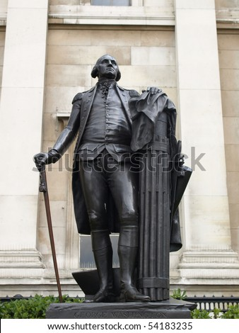 Statue of American president George Washington in London - stock photo