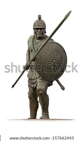 Statue of ancient Macedonian hoplite  from Skopje main square  isolated on white - stock photo