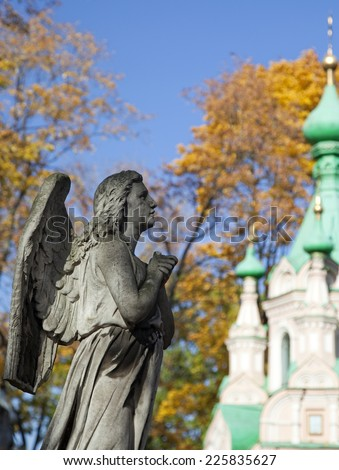 Statue of Angel, necropolis of Donskoy monastery, Moscow, Russia  - stock photo