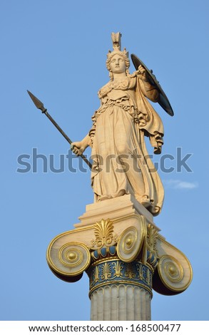 Statue of Athena at the Academy of Athens, Athens city, Greece  - stock photo